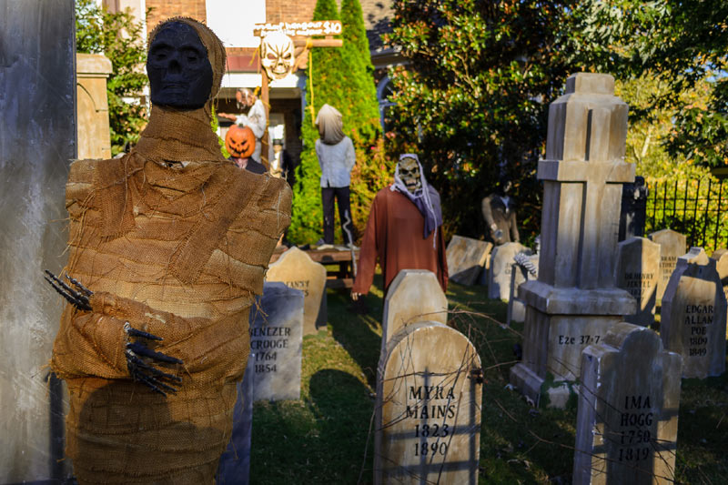 Halloween Graveyard Skull Orchard Cemetery The Mummy, Ghoul, Gallows and Cross Tombstones