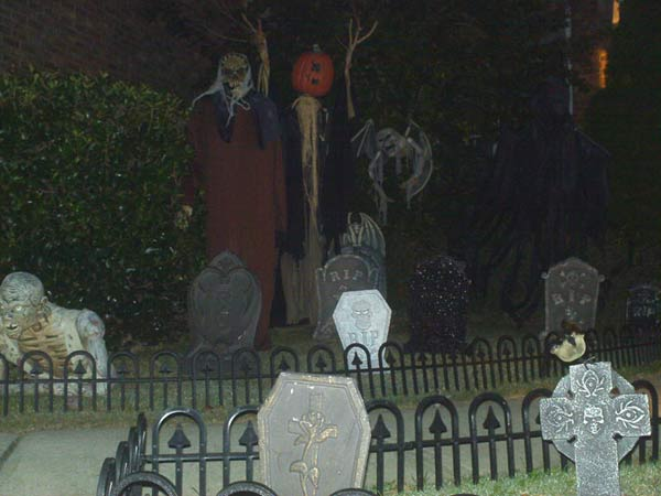 Night View of Druid GraveYard Guy, Scarecrow Vampire Bat tombstones