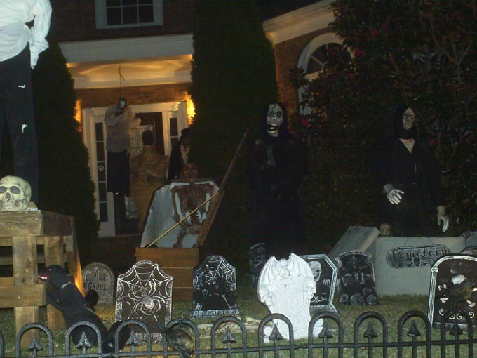 Halloween View at Night of Gallows Mummy, Coffin Corpse GraveYard and Crypt Ghoul