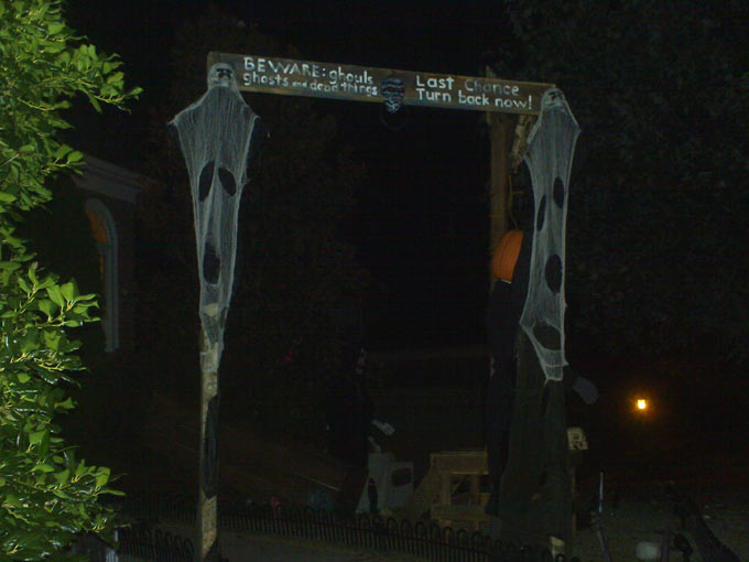 Night View of our Halloween Graveyard Entrance Banner