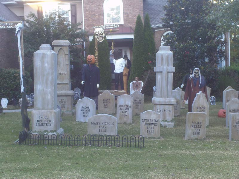 Halloween View of Gallows Mummy, Coffin Corpse GraveYard and Crypt Ghoul