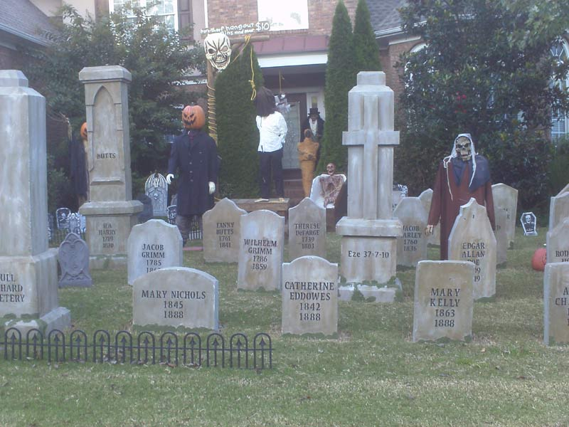 Haunt View of Graveyard with Gallows Executioner, Ghoul, Mummy and Corpse in Coffin