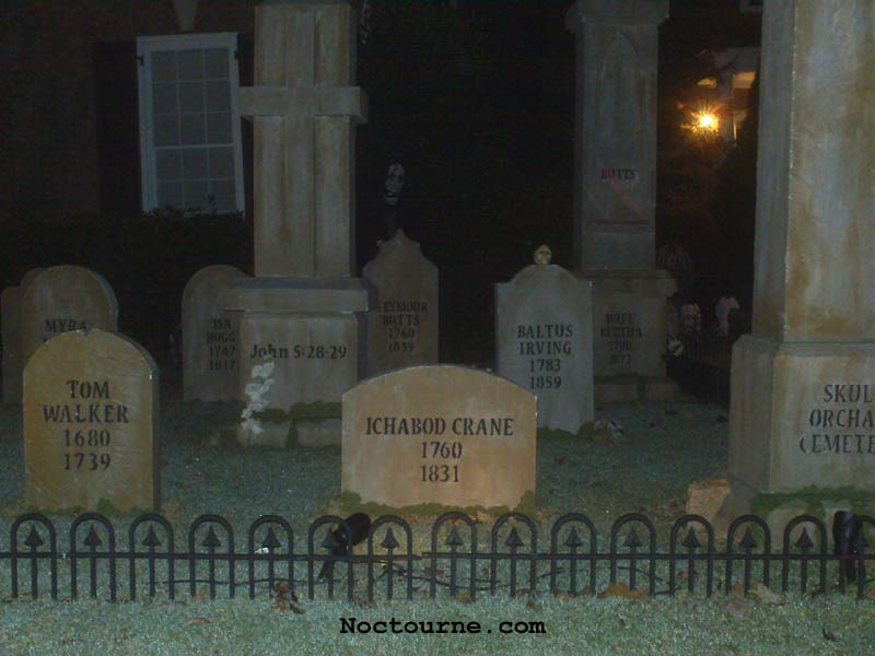 Night View of our Halloween Graveyard Skull Orchard Cemetery