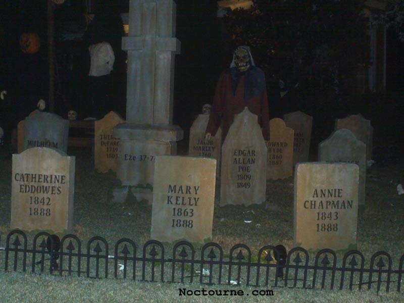 Night View of our Halloween Graveyard Skull Orchard Cemetery with Grave Yard Ghoul