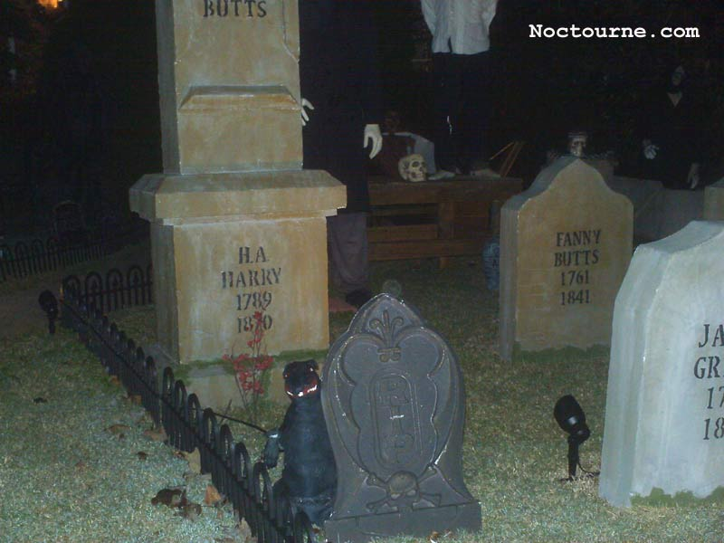 Night View of our Halloween Graveyard Skull Orchard Cemetery with Large Rat
