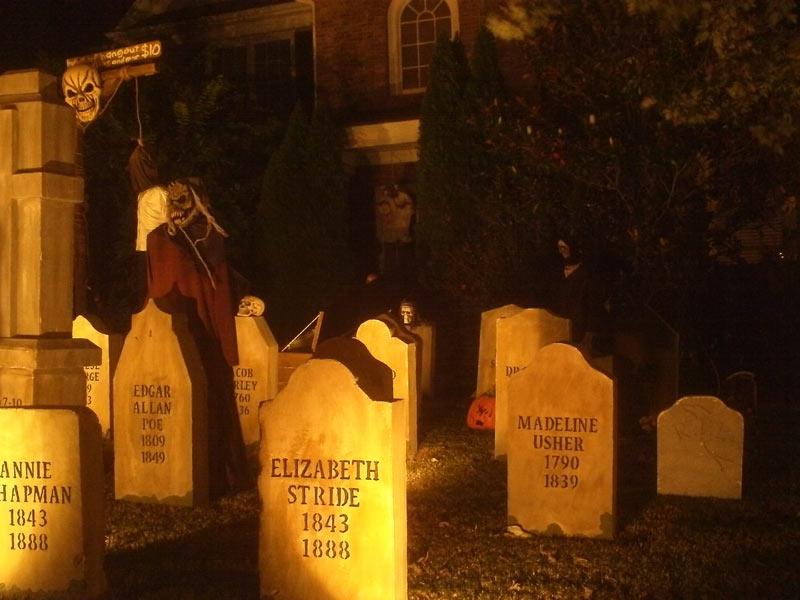 Night View Halloween Graveyard Cemetery Annie Chapman. Elizabeth Stride, Edgar Allan Poe, Madeline Usher Head Stones with Ghoul