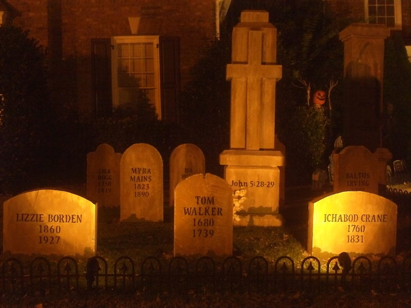 Night View Graveyard Cemetery Lizzie Borden, Tom Walker, Ichabod Crane, Myra Mains and Cross Head Stones