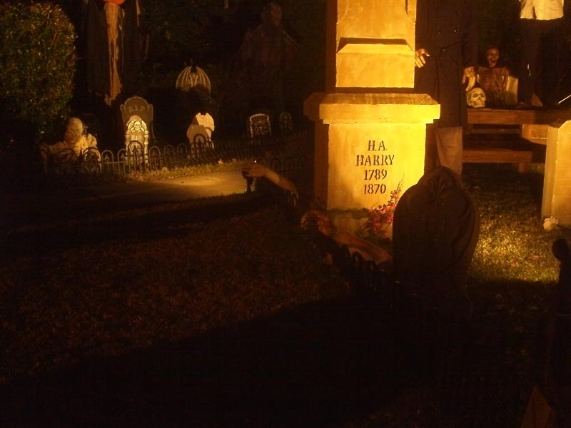 Night View Halloween Graveyard Skull Orchard Cemetery Dead Arms Coming out of Ground