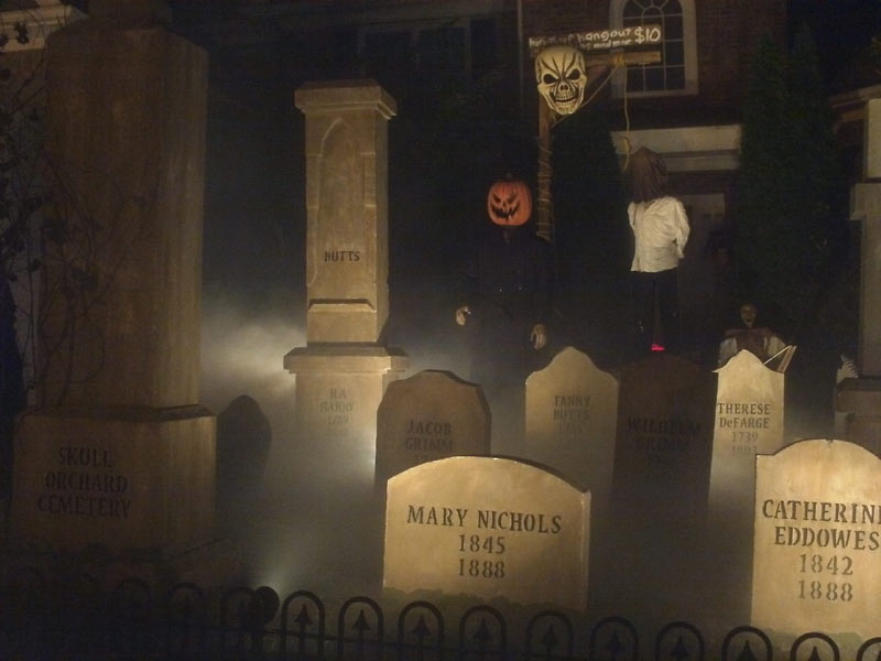 Halloween Night View of Graveyard Skull Orchard Cemetery