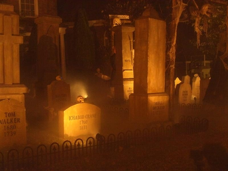 Night View Halloween Graveyard Skull Orchard Cemetery Ichadod Crane Mummy in Background
