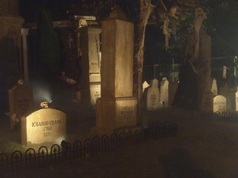 Night View Halloween Graveyard Cemetery with Gallows Executioner Plus Various Grave Yard Ghouls