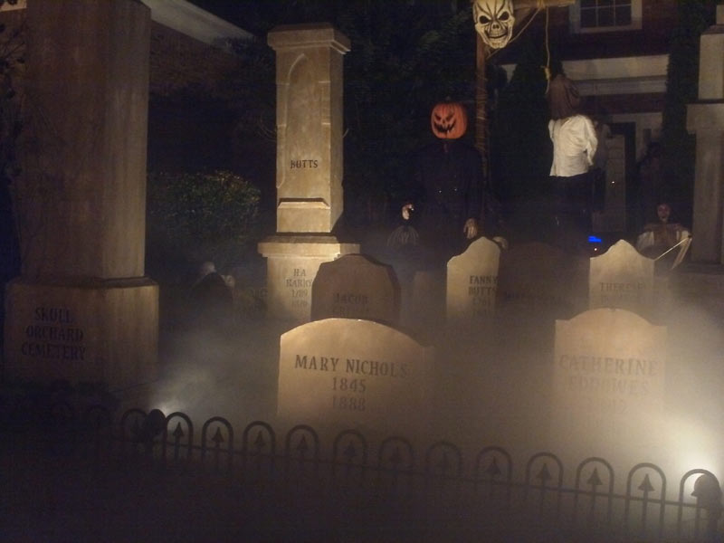 Night View Halloween Graveyard Cemetery with Gallows Executioner Mary Shelley & Bram Stoker