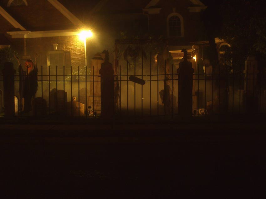 Night View of Halloween Graveyard Cemetery with Crypt Ghoul Bram Stoker Head Stone