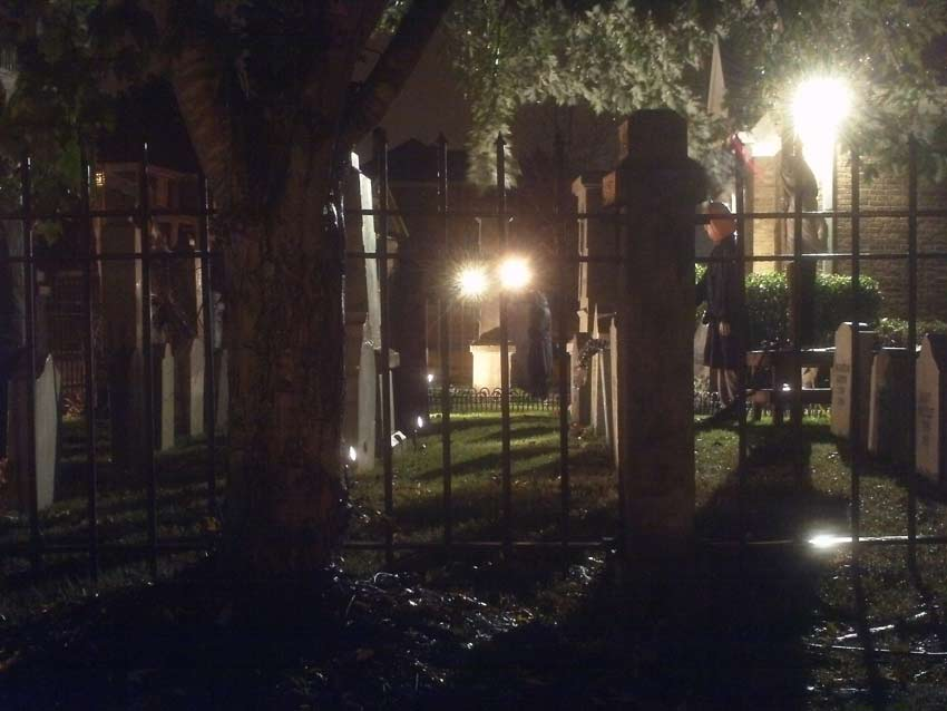 Night View of Halloween Graveyard Entrance Banner Bat Skeleton Skull Orchard Cemetery Plus Scarecrow
