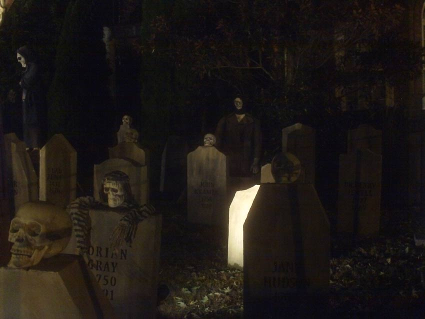 Night View Halloween Graveyard with PennyWise Clown and Wolf Creature in Fog